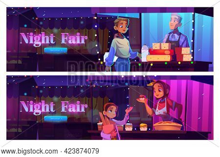 Night Fair Cartoon Web Banner With People Visit Outdoor Market Booths And Kiosks. Characters Buying