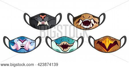 Face Masks With Scary Animal Fangs Isolated On White Background. Vector Cartoon Set Of Black Cloth M