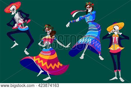 Mexican Day Of The Dead, Dia De Los Muertos Skeletons Characters Dancing. Catrina Or Mariachi Musici