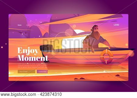Enjoy Moment Banner With Man In Boat On Sunset Background. Vector Landing Page Of Tranquility Rest A