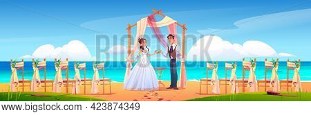 Beach Wedding Ceremony With Newlywed Couple, Floral Arch And Chairs On Sea Shore. Vector Cartoon Lan