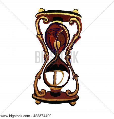 Hand Drawn Illustration Of Sandglass Or Hourglass