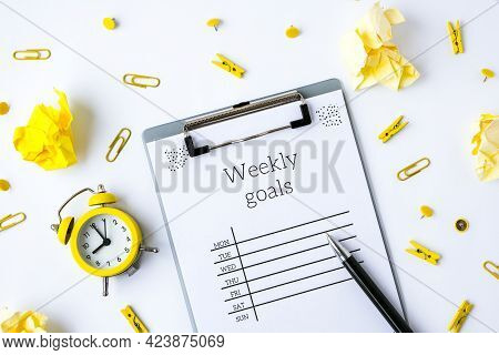 Weekly Goals Planner On White Background. Planning Week To Stay Productive When Working From Home Du