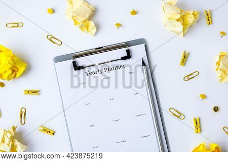 Yearly Goals Planner On White Background. Planning Year To Stay Productive When Working From Home Du