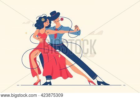 Man And Woman Dancing Romantic Tango Vector Illustration. Female In Red Dress And Man In Suit With R