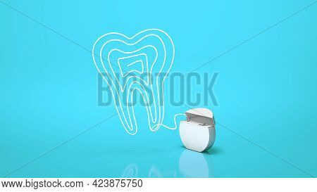 Dental Floss. Flossing Your Teeth. Tooth Made From Dental Floss On A Blue Background. 3d Render
