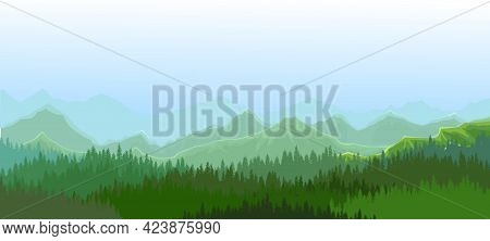 Foggy Morning In Coniferous Forest. Silhouettes Of Trees. Wild Hilly Landscape. Mountains. Pine, Ced