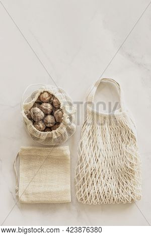 Eco Friendly Accessories - Eco Bags And Walnuts. Zero Waste, Plastic Free Concept, Sustainable Lifes