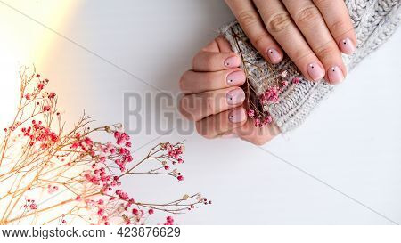 Woman Hands With Beautiful Nude Manicure Holding Delicate Pink Gypsophila Or Baby's Breath Flowers.