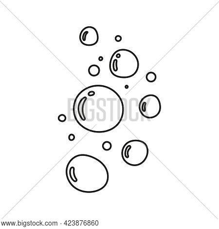 Hand Drawn Soap Bubbles. Vector Illustration With Fizzy Bubbles. Editable Stroke.