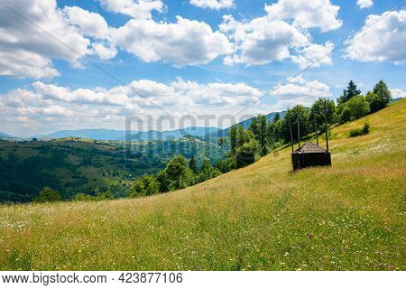 Grassy Pasture On The Hill In Summer. Empty Hay Shed On The Field. Carpathian Rural Landscape In Mou