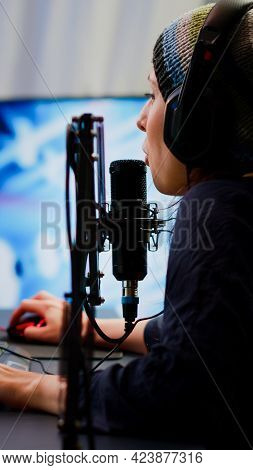 Pro Cyber Woman Talking At Streaming Professional Microphone In Gaming Home Studio With Open Stream