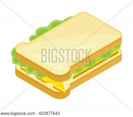Sandwich As Bread Slices With Savory Ingredient Isometric Vector Illustration