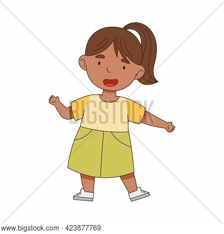 Happy Little Girl Standing With Open Arms For Hug Vector Illustration
