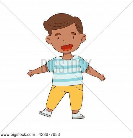 Cheerful Boy Standing With Open Arms For Hug Vector Illustration