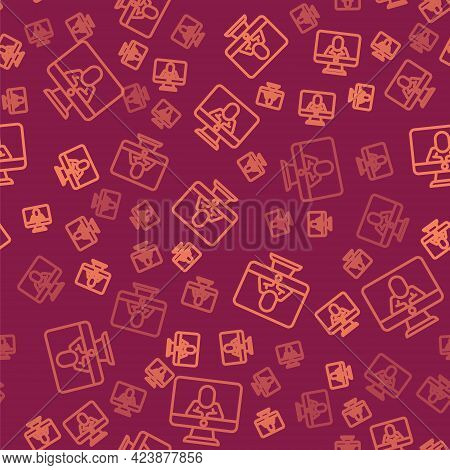 Brown Line Online Psychological Counseling Distance Icon Isolated Seamless Pattern On Red Background