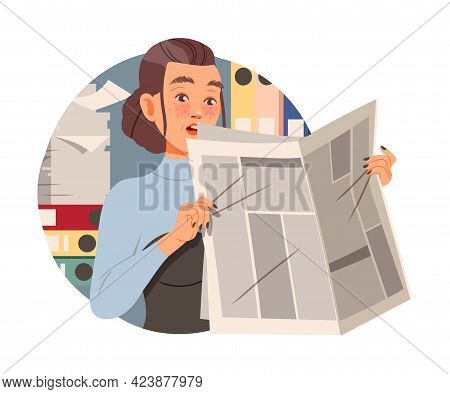 Amazed Woman Office Worker At Workspace Reading Newspaper Circle Vector Composition