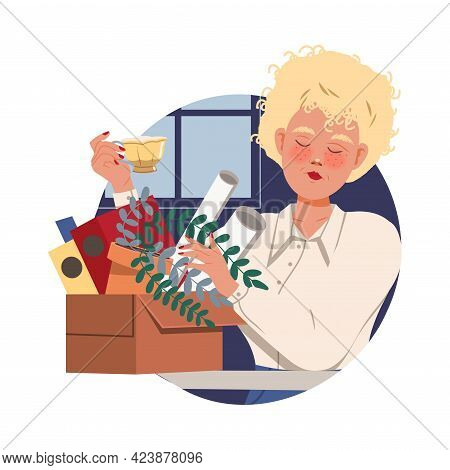Blonde Woman Office Worker At Workspace Drinking Tea Circle Vector Composition