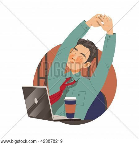 Freckled Man Office Worker With Laptop And Coffee At Workspace Stretching Circle Vector Composition
