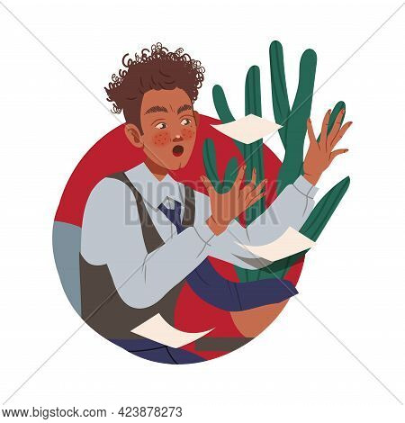 Man Office Worker At Workspace Throwing Paper Documents Circle Vector Composition