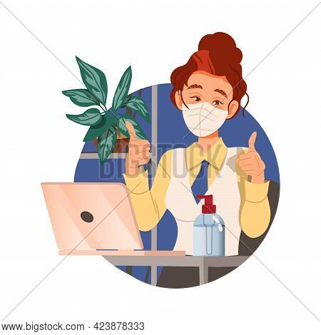 Woman Office Worker In Face Mask Sitting At Desk At Workspace Showing Thumb Up Circle Vector Composi