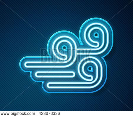 Glowing Neon Line Windy Weather Icon Isolated On Blue Background. Cloud And Wind. Vector