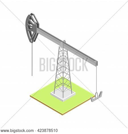 Oil Well With Pumpjack As Overground Drive For Bringing Petroleum Isometric Vector Illustration