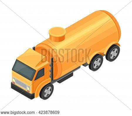 Truck With Tank Containing Oil Or Petroleum For Transporting Chemical Liquid Resource Isometric Vect