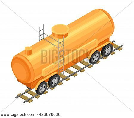 Tank With Oil Or Petroleum For Transporting Chemical Liquid Resource Isometric Vector Illustration