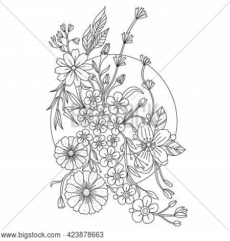 Outline Doodle Flowers In Black And White For Adult Coloring Books, Monocrome Floral Vector Pattern.