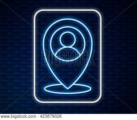 Glowing Neon Line Map Marker With A Silhouette Of A Person Icon Isolated On Brick Wall Background. G