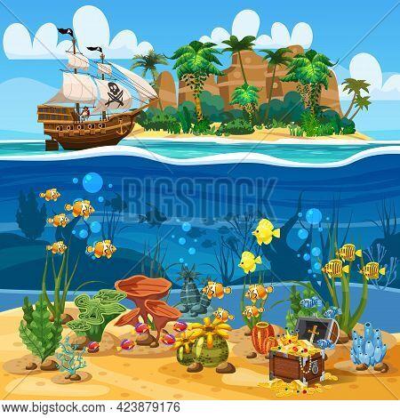 Tropical Island Pirate Ship Naval Under Sail In Ocean. Underwater Sea Bottom, Coarl Reef, Fish, Seaw