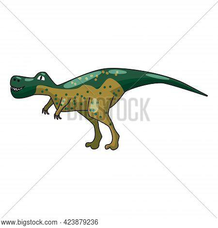 Funny Prehistoric Tyrannosaurus Rex Dinosaurus. Ancient Wild Monsters Reptiles Cartoon Style. Vector
