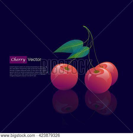 Red Cherry Realistic Vector Design Concept, Cherry Vector