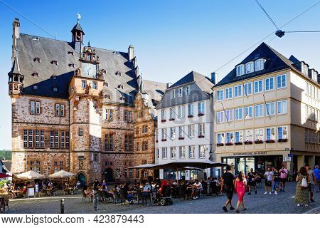 Marburg, Germany - June 13, 2021: Cityscape Of The German City Of Marburg With Historical Townhall A