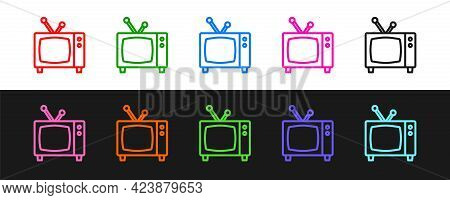 Set Line Retro Tv Icon Isolated On Black And White Background. Television Sign. Vector