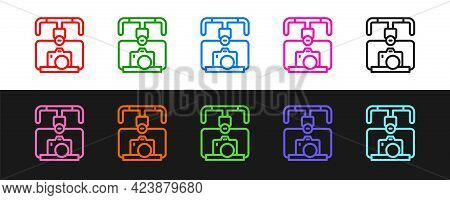Set Line Gimbal Stabilizer With Dslr Camera Icon Isolated On Black And White Background. Vector