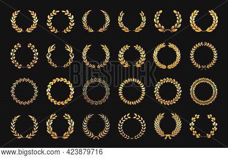 Golden Laurel Wreath. Antique Gold Olive Branch Emblems, Foliate Ornament Victory Logos. Cinema Fest