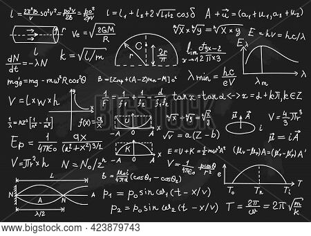 Physics Formulas. Mathematical Equations, Physics Theories, Arithmetic Calculations. Blackboard With