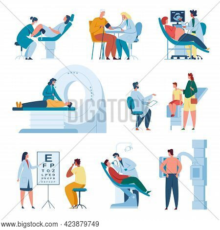 Doctors And Patients. Doctor Consulting Patient At Clinic. Professional Medical Staff At Work. Patie