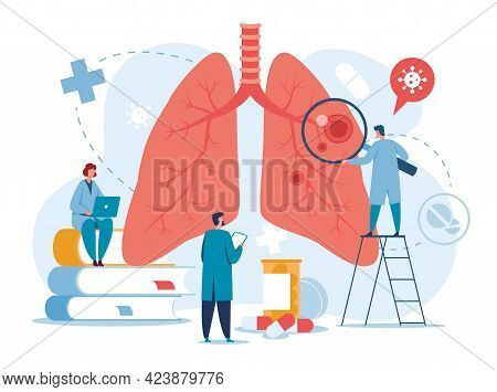 Pulmonology. Doctors Examining Lungs. Tuberculosis, Pneumonia, Lung Cancer Treatment Or Diagnostic.