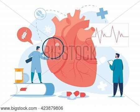 Cardiology. Cardiologists Examining Heart. High Cholesterol Medical Diagnostics, Heart Failure Treat