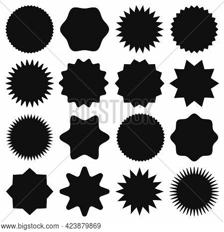 Black Star Stickers. Star Shape Price Tag, Advertising Starburst Label, Sale Badges. Blank Promo Sun