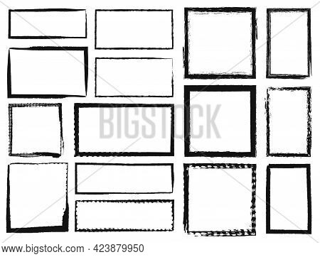 Grunge Frames. Textured Square And Rectangle Borders. Dirty Grungy Black Photo Frame Texture, Rough
