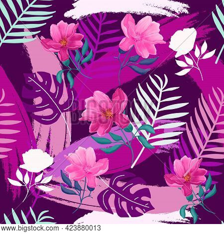 Vector Seamless Beautiful Colorful Tropical Monstera, Palm Leaves And Flowers On A Purple Background