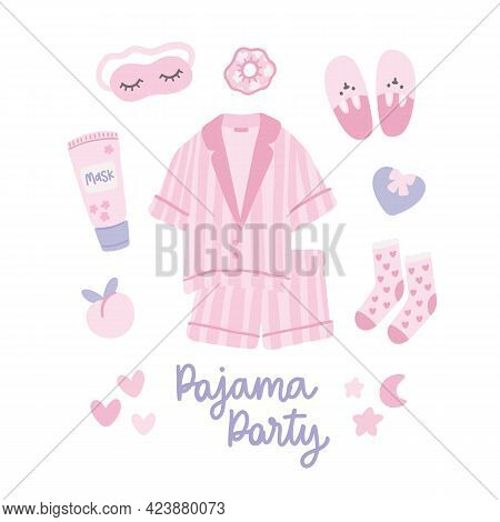 Set Of Things For Pajama Party. Lovely Pajamas, Sleep Mask, Slippers, Hair Tie, Face Mask, Socks, He