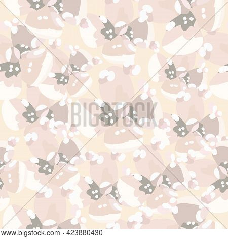 Cute Floral Vector Beige Colors Seamless Pattern. Abstract Dotted Flowers On Beige Background. Sprin