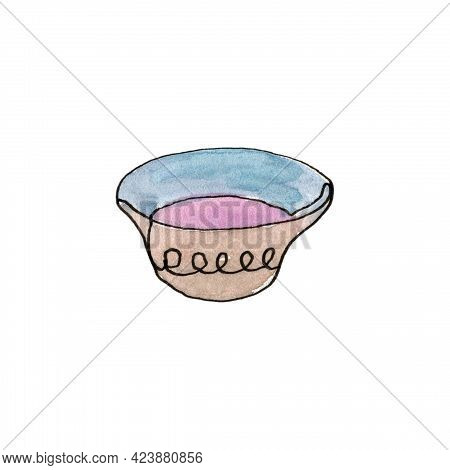 Plate. Bowl. Kitchen Utensils And Cooking Utensils. Single Line.the Illustration Is Hand-drawn In Li