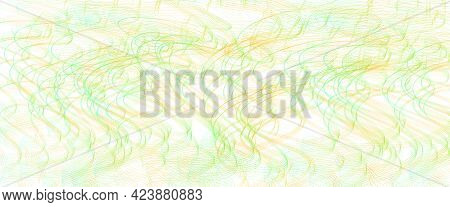 Bright Green, Orange Thin Squiggle Lines. Tangled Wavy Curves. Abstract Vector Background. Textured