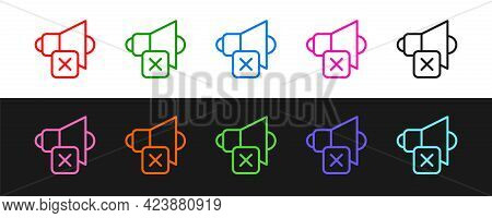 Set Line Speaker Mute Icon Isolated On Black And White Background. No Sound Icon. Volume Off Symbol.